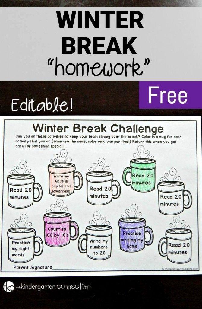 "Winter Break Homework FREEBIE! This editable ""homework"" sheet will keep your students brains engaged over the holiday break! - The Kindergarten Connection #freeprintable #homework #winterbreak #kindergarten #firstgrade"