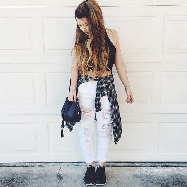 ootd// top: brandy jeans: brandy shoes: nike bag: markkit (@shopmarkkit)