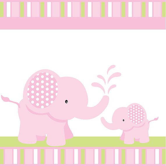 Pink Elephant Baby Shower or Birthday Custom by blackleafdesign, $25.00