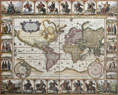 Mapamundi Antiguo. Nicholas Visscher, 1692
