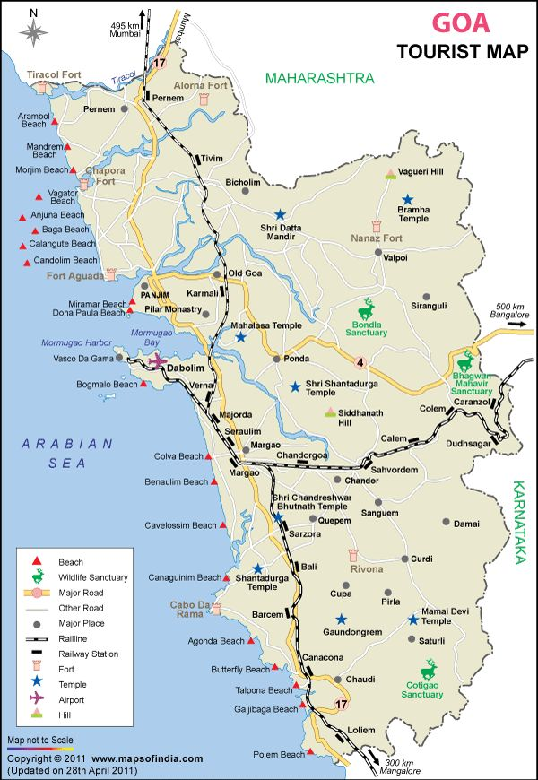 where is goa, Goa is the smallest state and a well distinct popular beach destination of India. Located in west India and panaji is the state capital.