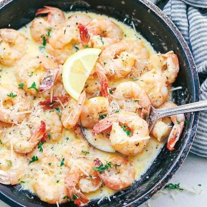 Pâtes crémeuses aux crevettes et à l'ail   – Essen