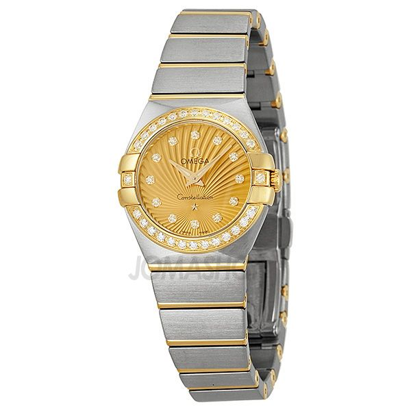 Omega Constellation Diamond Champagne Dial Brushed Steel Ladies Watch 123.25.24.60.58.001