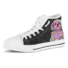 Shih Tzu Dog Men's Dark Love Doodles High Top Canvas Shoes (White Sole)