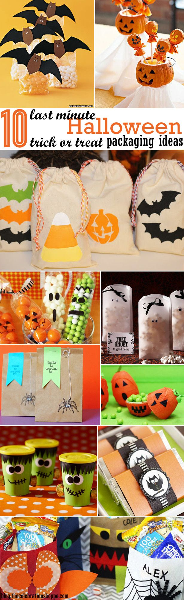 10 Last Minute Trick or Treat Packaging Ideas via blog.thecelebrationshoppe.com #Halloween #crafts