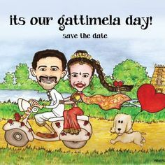 Wedding invite season! #south #indian #wedding  #design #invite #illustration #cartoon #caricature #character