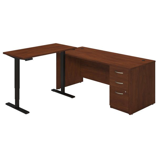 Truly customize your workspace with the Bush Business Furniture Series C Elite, desk with height adjustable return with a base. Design your office suite with desk shell with a 3 drawer mobile pedestal for storage. Wire management grommets keep plugs and cables under control and file drawers glide on full-extension ball-bearing slides and accommodate legal, letter, and A4 file sizes. The versatility of the height adjustable standing desktop creates an extended work surface as a return. This…