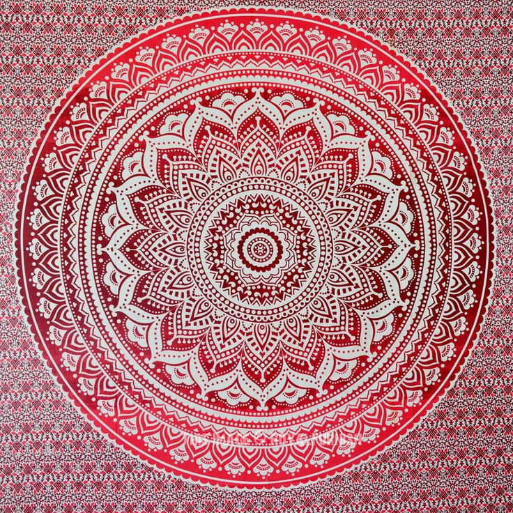 Maroon Floral Ombre Mandala Wall Tapestry Bedding, Beach Throw