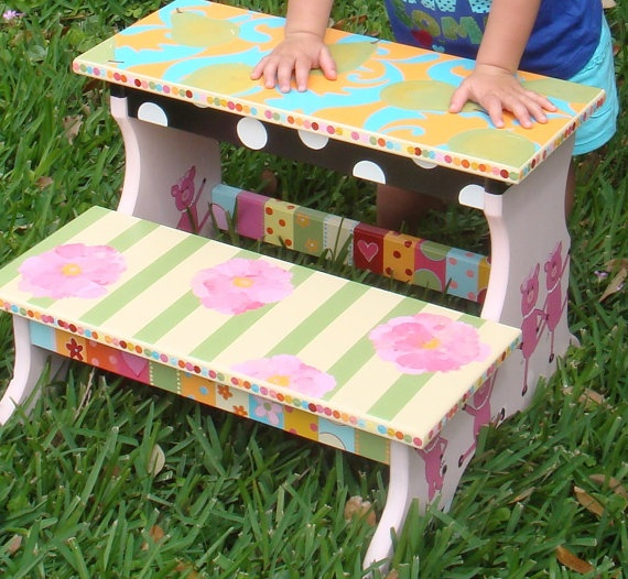 Personalized Stool For Kids Custom Painted Step Stool For
