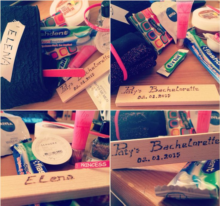 #survival  #kits for the #girls. #thedayafter #bachelorette #party #ideas #survivalkits #bestfriends #sisters @pati_peleki  @angsupertramp  /////////// <3 /////////////// <3 /////////// <3 survival kit containing: 1. neceser 2. single use toothbrush/paste 3. gum 4. lollipop 5. hankies 6. a pair of socks 7. mini nail polish 8. elastic hair band 9. elastic hand band 10. mini nail file 11. mini lip gloss 12.mini bubble bath 13. mini hand cream 14. face mask 15. large amount of love <3