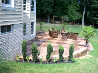 Concrete Patios  Create an Image Decorative Concrete  Haymarket, VA: Backyard Ideas, Concrete Patios, Checkered Patterns, Concretenetwork Com, Patio Options, Concrete Haymarket, Photo Galleries, Patio Create, Patio Ideas