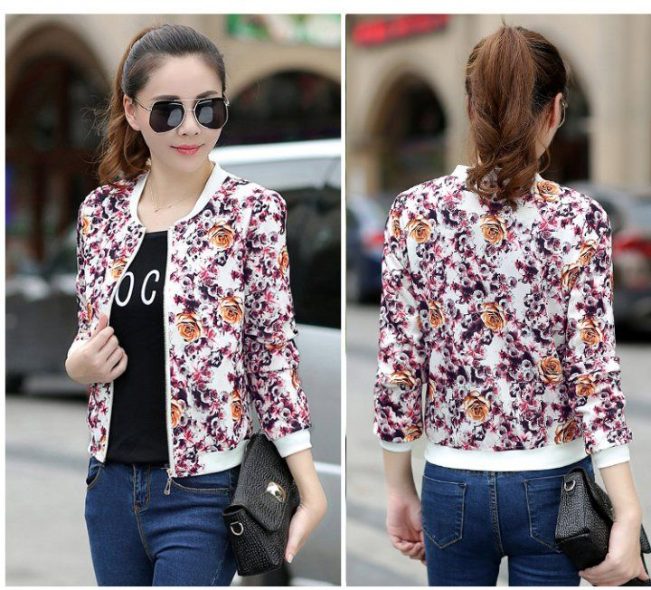 CW21838 Slim long sleeve short coat printing spring and autumn jacket