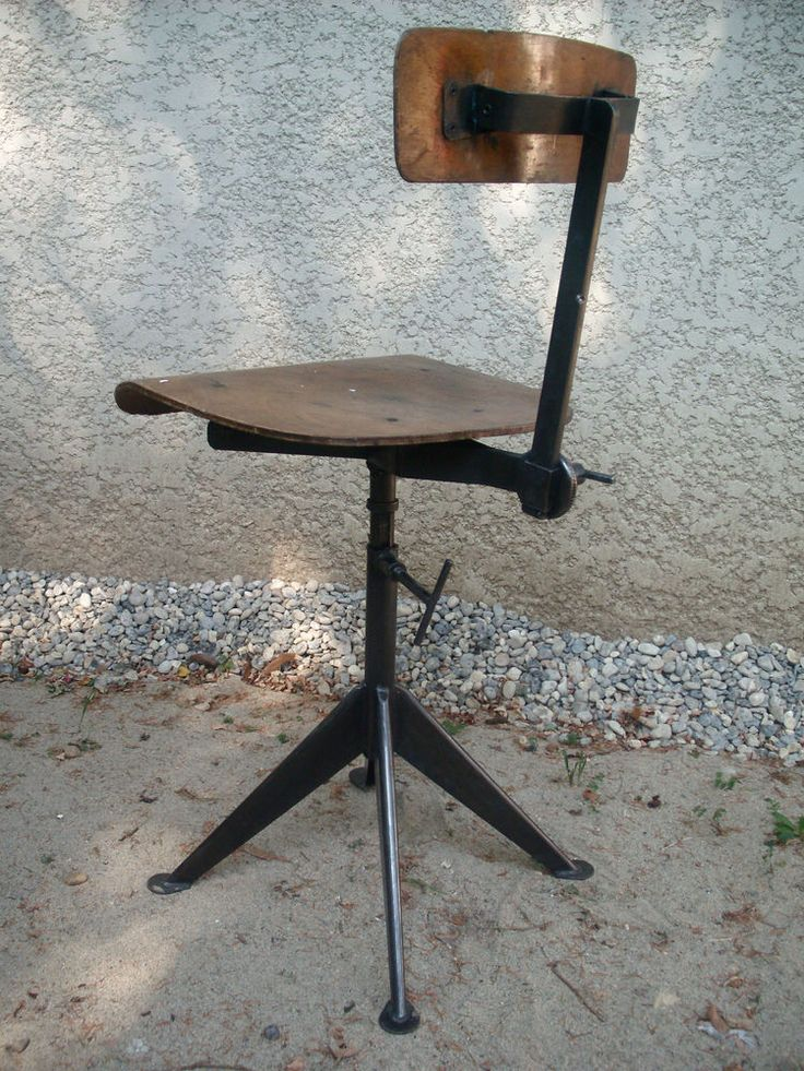 FRENCH Machine Age Stool / Industrial Office Task Chair JEAN PROUVE Ca 1940  N2