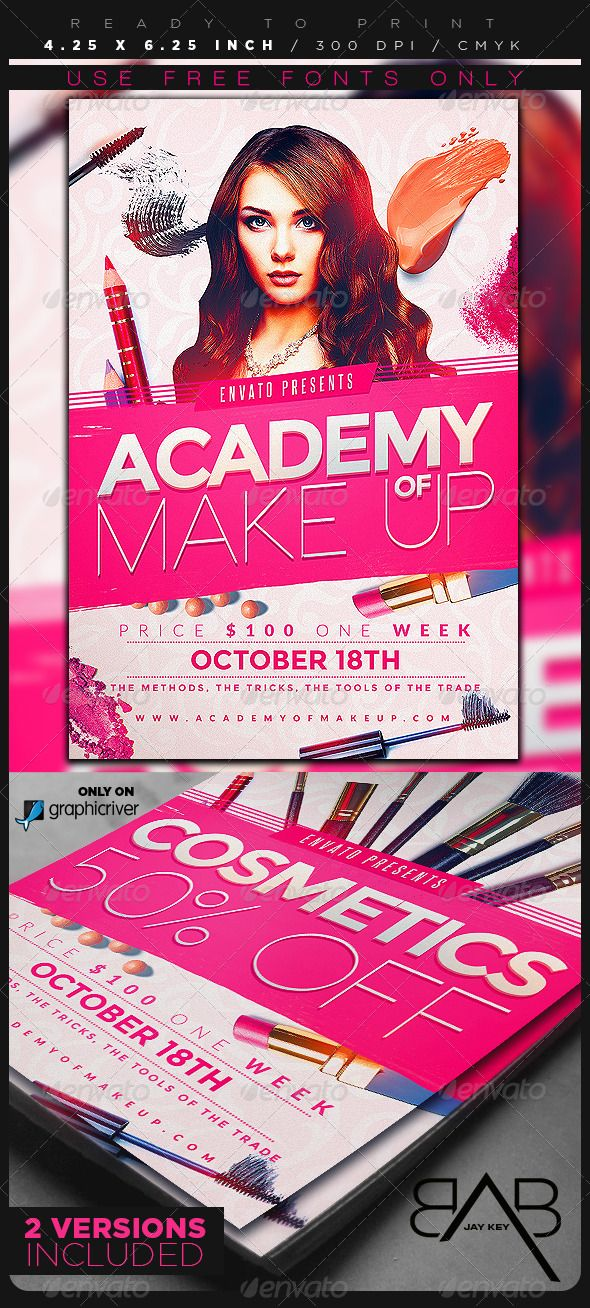 Makeup Course Flyer Template — Photoshop PSD #course #store • Available here → https://graphicriver.net/item/makeup-course-flyer-template/8499053?ref=pxcr
