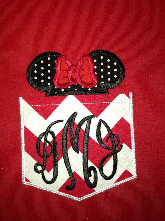 Minnie monogrammed pocket tee by SassyFrassGiftery on Etsy, $20.00. Must  get that soooo cute