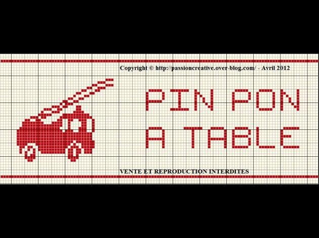 bébé - baby - camion pompier - pin pon à table - point de croix - cross stitch - Blog : http://broderiemimie44.canalblog.com/