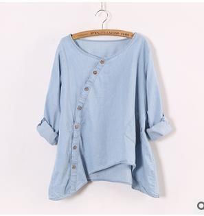 2016 лето осень блузки корейский Стиль Женская карманы частичное закрытие нерегулярные джинсовые рубашки с длинным рукавом бесплатная доставка