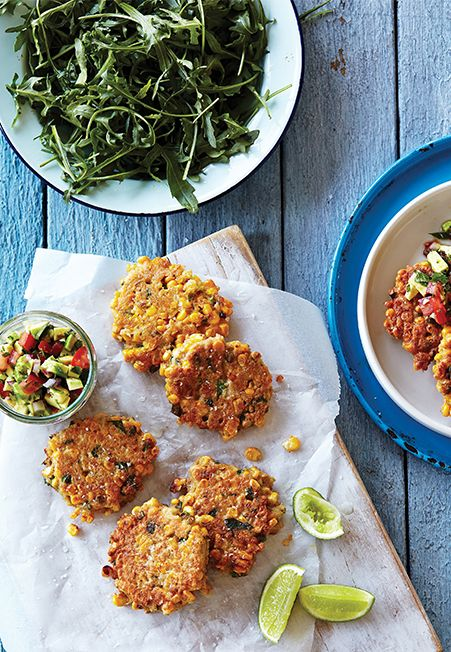 Quinoa and Sweet Corn Fritters with Avocado and Tomato Salsa - See more at: http://www.iquitsugar.com/clean-living-extract-post/#sthash.nQyOpB8S.dpuf