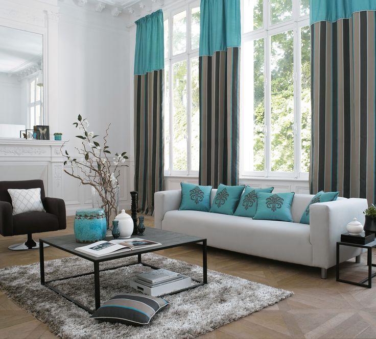 ... , théâtrale, moderne, rideaux, rayures, turquoise, gris, bleu More