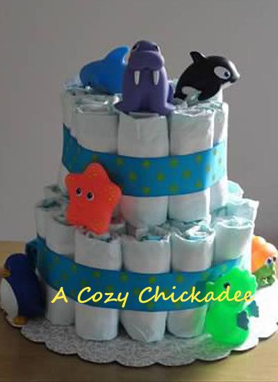 2 tier diaper cake Under The Sea by ACozyChickadee on Etsy, $35.00