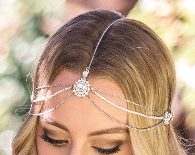 Accesorio del pelo de novia Bohemia, plata tocado de novia, tocados de boda bohemio, bohemio casco, HeadpieceH220WL de la boda de plata