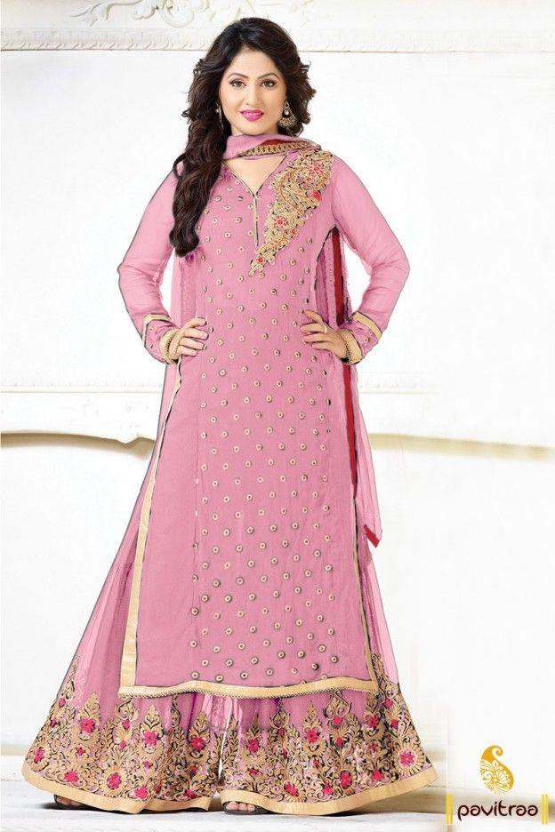 Akshara Hina Khan Tv Actress Light Pink Pakistani Palazzo