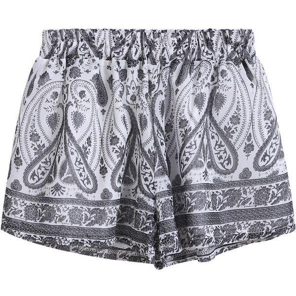 SheIn(sheinside) Grey Elastic Waist Tribal Print Shorts ($15) ❤ liked on Polyvore featuring shorts, bottoms, short, pants, black, black shorts, stretch waist shorts, short shorts, black chiffon shorts and chiffon shorts