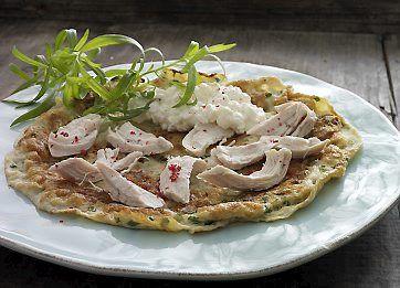 Æggewrap med kylling til Dukan-kuren er en lækker frokostret, som spises med estragon og hytteost.