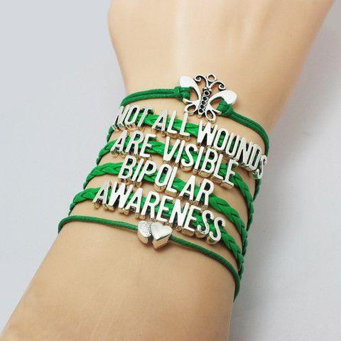 Green Leather Bipolar Awareness Bracelet 22 08cdn Available At Health Mental Pinterest And