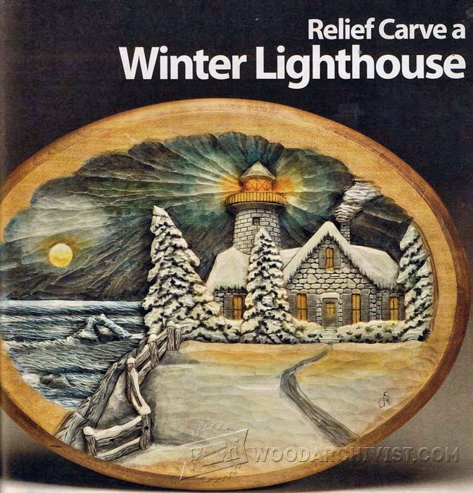Relief carving patterns winter lighthouse Резьба