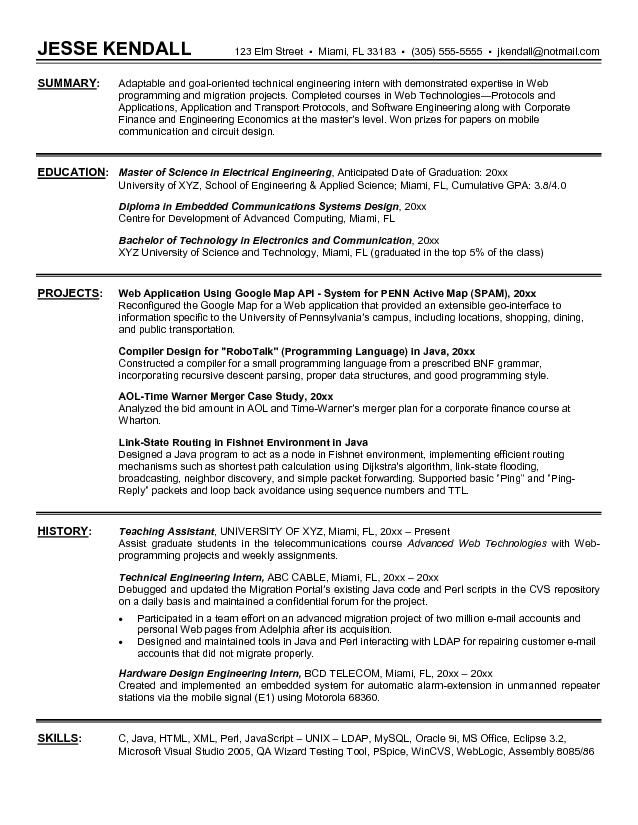 Writing Resume Engineering Internship - Vision professional
