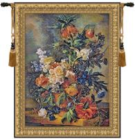 Bouquet Dore Belgian Wall Tapestry W-1677, 30-39Incheswide, 37W, 40-49Inchestall, 40-49Incheswide, 45W, 47H, 50-59Inchestall, 57H, Belgian, Border, Bouquet, Dore, Floral, Flowers, Gold, Mixed, Tapestry, Vertical, Wall, Belgianwoven, Europeanwoven, tapestries, tapestrys, hangings, and, the, wool