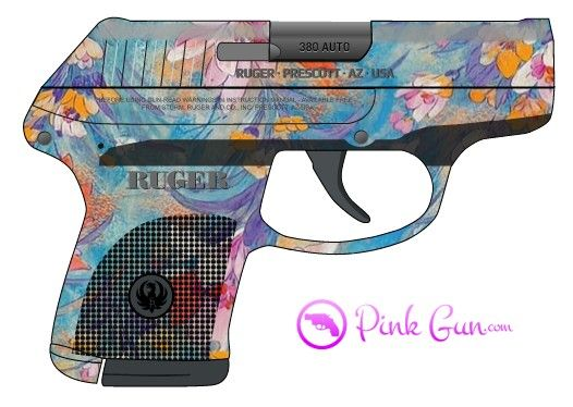 Pink Gun -  Ruger LCP .380 semi-automatic pistol in blue flowers decoration concept at http://www.PinkGun.com