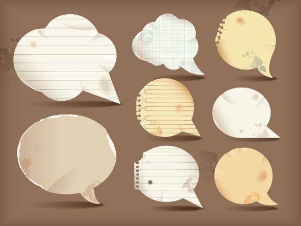 Globos de diálogo vectorizados con estilo de papel – Puerto Pixel | Recursos de Diseño