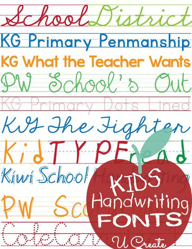 Favorite Free Fonts: Kids Handwriting - U create