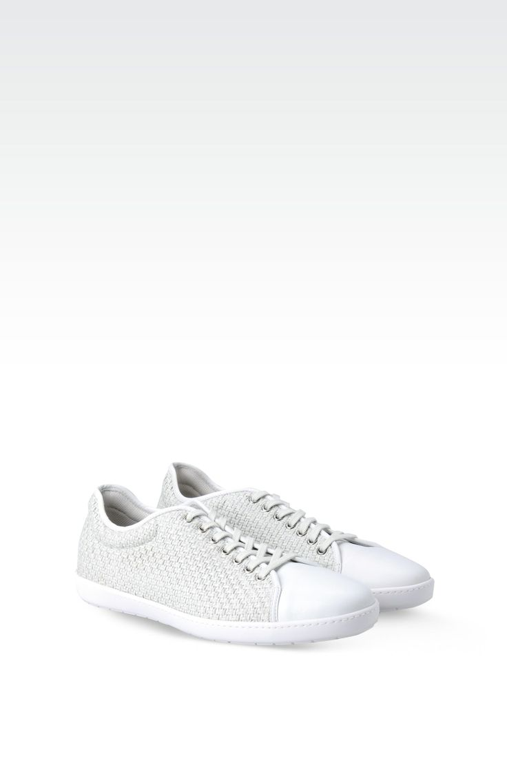 Men Trainer Giorgio Armani SNEAKER IN CALFSKIN LEATHER AND RAFFIA - Official Online Store