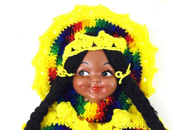 1970s Doll Face Wall Hanging / Bright Colorful by ChapsAndRascal