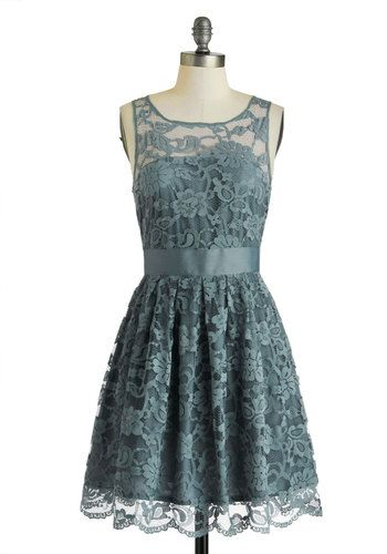 Yet another cute as hell fit and flare dress. In grey blue, no less! When the Night Comes Dress in Smoke, #ModCloth