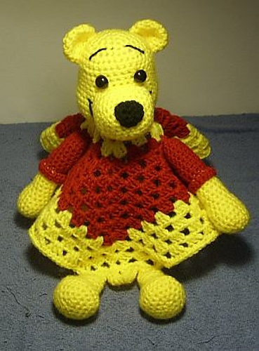 Ravelry: Pooh Inspired Lovey Blankie pattern by Knotty Hooker Designs $2.75