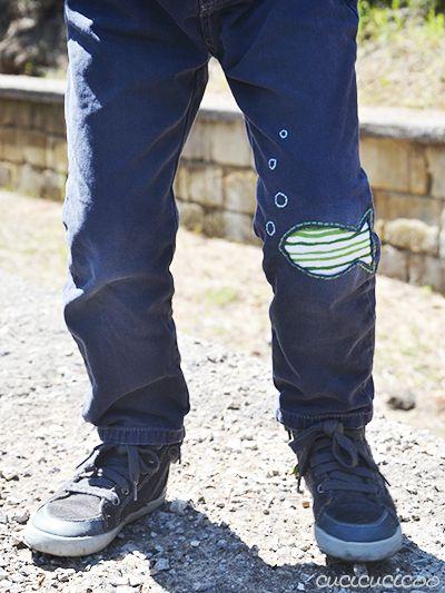 Making Good: Ripara strappi nei pantaloni con il rammendo creativo! Usa la tecnica di reverse appliquè per salvare i tuoi jeans preferiti! www.cucicucicoo.com per www.greenissuessingapore.blogspot.com