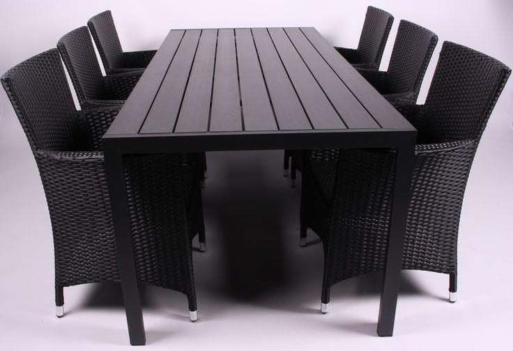 Cheanne Havemøbelsæt. Stort nonwood bord med 6 stole