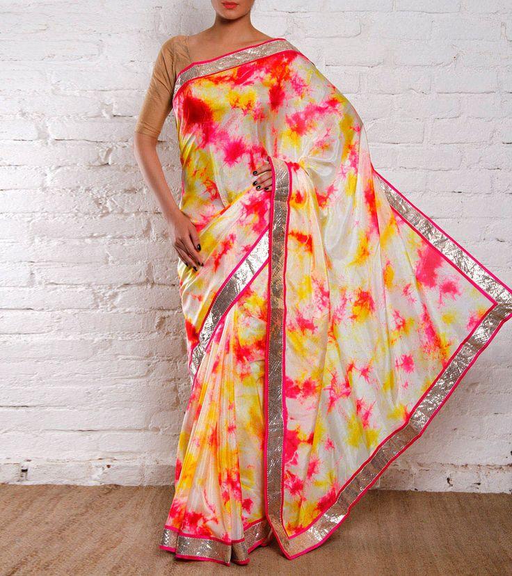 Multicoloured Silk Tie Dyed Saree
