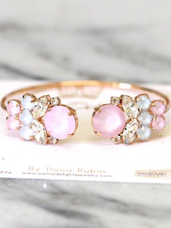 Rose Quartz Bracelet Swarovski Bridal light pink by iloniti on Etsy  http://etsy.me/292BhJn
