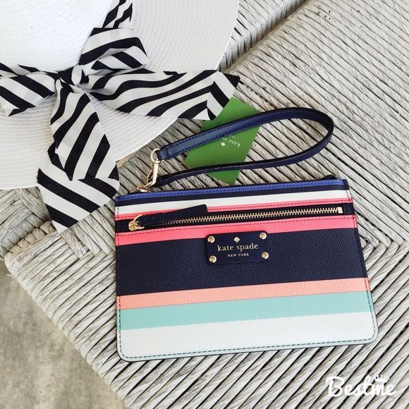 kate spade striped tinie wristlet, BNWT! kate spade striped tinie wristlet, BNWT! this wristlet is from the Wellesley printed collection and is a double zip. Item is unused and in brand new condition with tags! No trades or PayPal! kate spade Bags Clutches & Wristlets