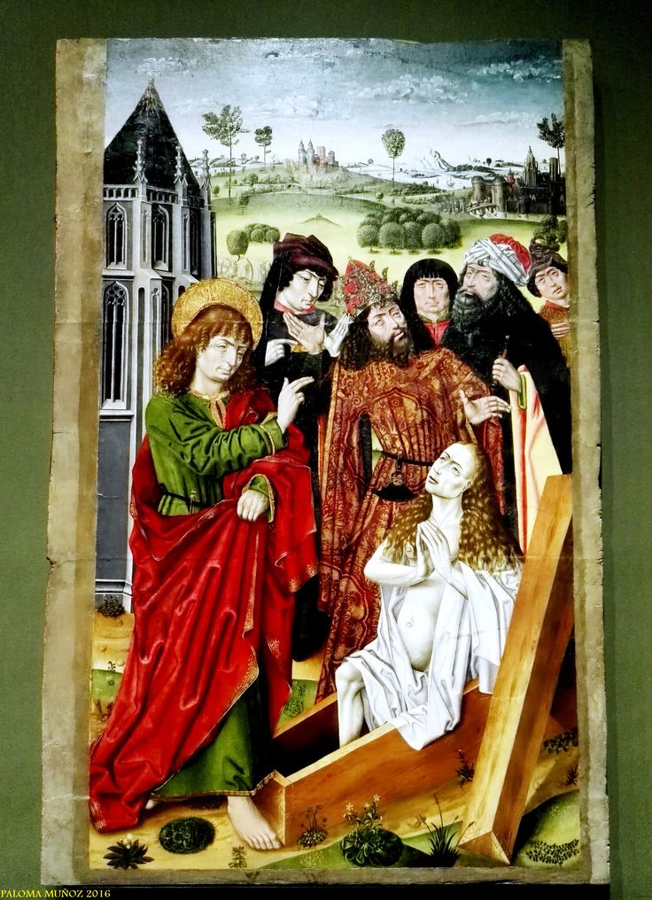 """Maestro de San Nicolás. """"La resurrección de Drusiana"""" c.1475 Óleo sobre tabla de nogal. Master of Saint Nicholas """"The Resurrection of Drusiana"""" circa 1475 Oil on walnut panel"""