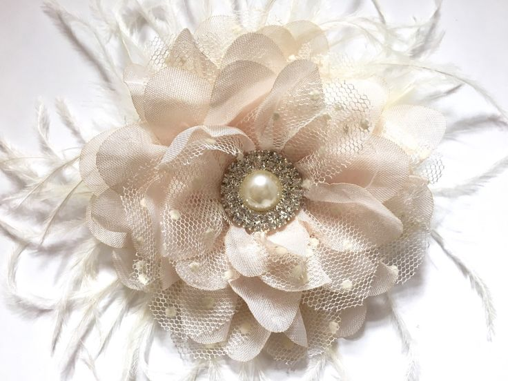 Lace Chiffon Flower Hair Clip Off White Ivory Feather Bridal