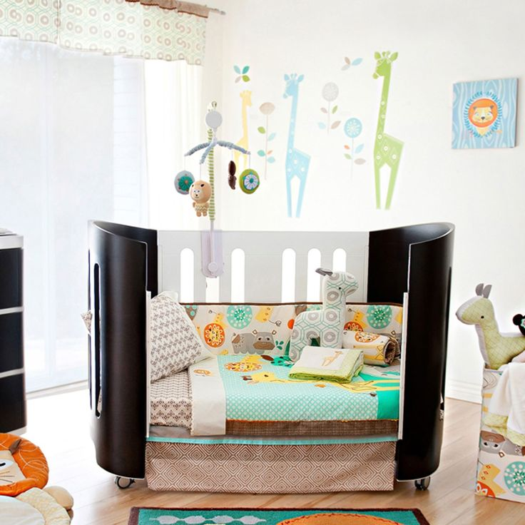 The Zig Zag Zoo 6-piece cot set by Lolli Living features a menagerie of animals (giraffe, bear, lion and hippo) and eclectic prints that coordinate perfectly with mix n' match bedding.