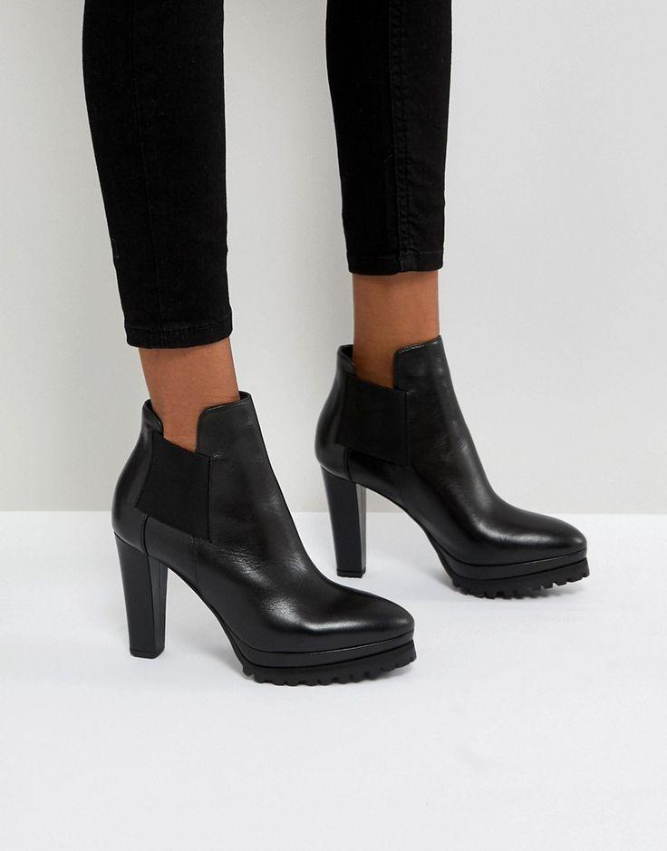 ALLSAINTS HEELED CUTAWAY ANKLE BOOTS - BLACK. #allsaints #shoes #