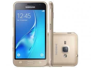 "Smartphone Samsung Galaxy J1 8GB Dourado Dual Chip - 3G Câm. 5MP Tela 4.5"" Proc. Quad Core"
