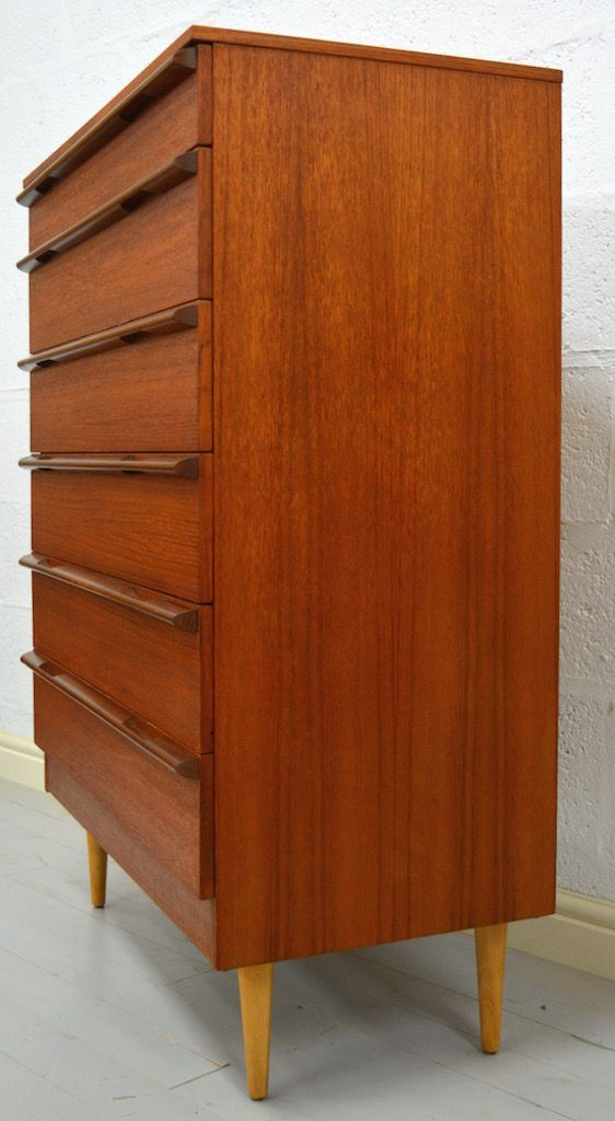 Mid Century Teak Tall Boy Chest By Avalon